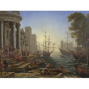 Seaport with the embarkation of Saint,Claude Lorrain,50x40cm