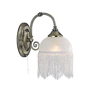 Lámpara de pared de latón antiguo victoriana con ácido grabado al agua fuerte cristal - reflector 3151-1AC
