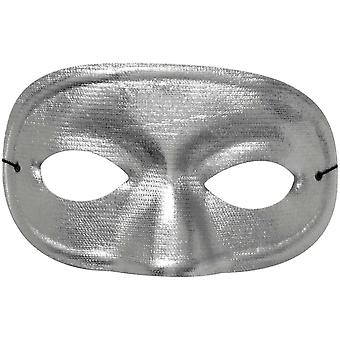 Half Domino Mask Metallic Silv For Adults