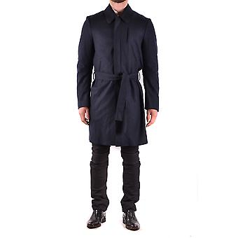 Costume National Blue Wool Trench Coat