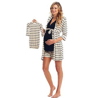 Adaline 5-Pc Nursing PJ Short Set with Baby Gown & Knotted Hat Set