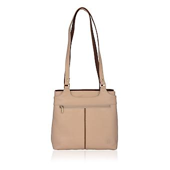 Borsa a tracolla in pelle Colourblock Zip II in avorio