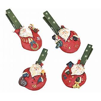 Houten Memo Peg - hars Santa ontwerp - Set van 4