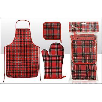 Union Jack slitage skotska Tartan förkläde, Oven Glove och Grytlapp