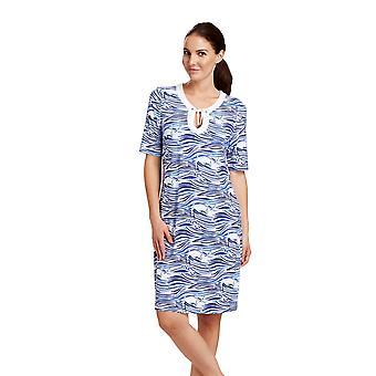 Rosch 1185627-11754 Women's Beachwear Blue Motif Kaftan Beach Dress