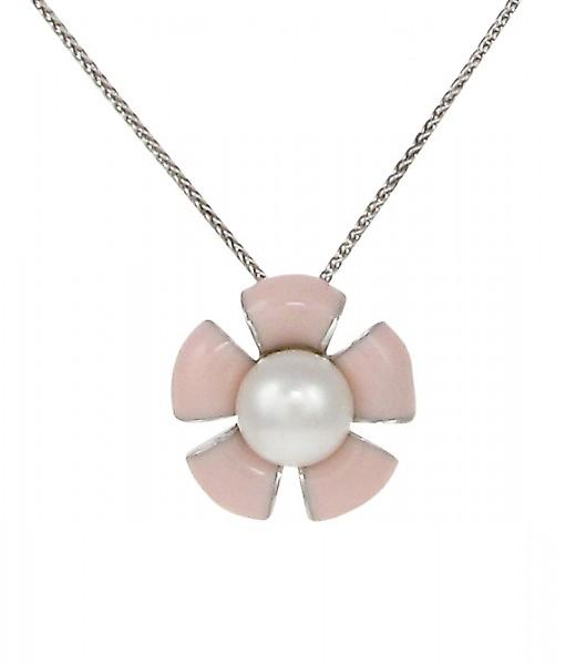 Cavendish French Sterling Silver and Peach Enamel Flower Pendant without Chain