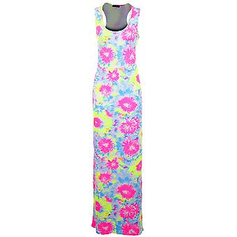 Neue Damen Leopard irre Frucht Drucken Multi Color Maxi Bodycon Damen Kleid
