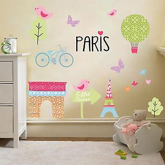 Klar stødig seng® barnas Paris design vinyl Veggklistremerker
