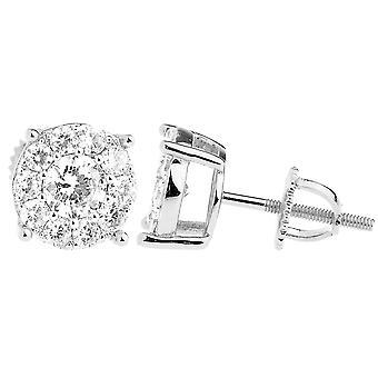 925 sterling silver bling cubic zirconia earrings - CLUSTER 9mm