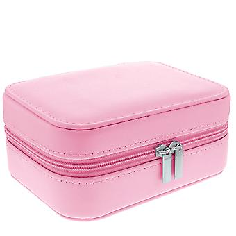 Mele - Tia Soft Pink PU Jewellery Box With Mirror & Compartments 5212