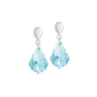 Eternal Collection Baroque Aquamarine Austrian Crystal Silver Tone Drop Clip On Earrings