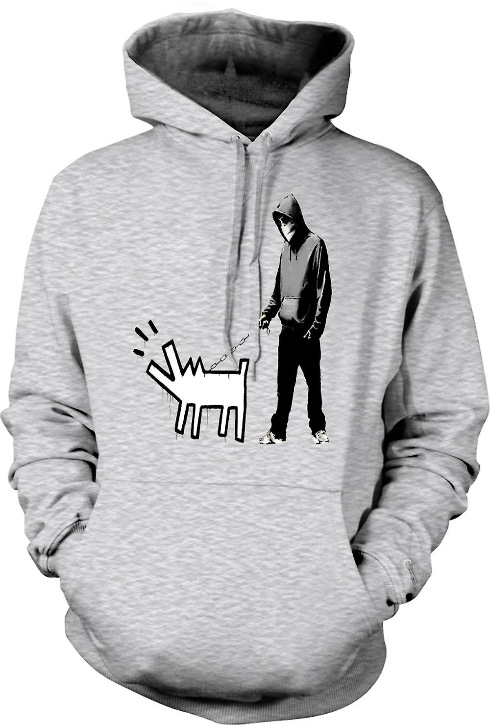 Mens Hoodie - Banksy Walking Dog