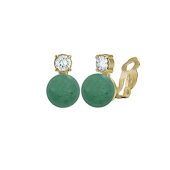 Eternal Collection Eternity Aventurine & CZ Gold Stud Clip On Earrings