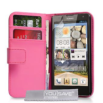YouSave Huawei Ascend G740 LeatherEffect Wallet Case Hot Pink