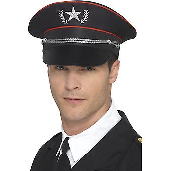 Deluxe Military Hat Black, Elastic Inner Rim, Forces Fancy Dress