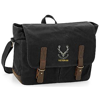 Seaforth Highlanders veteran-licensierade brittiska armén broderade vaxad canvas Messenger Bag