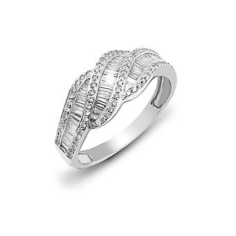 Jewelco London Solid 18ct White Gold Channel Set Baguette G SI1 0.81ct Diamond Wave Candy Twist Eternity Ring 8mm