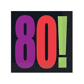80: e födelsedag hurra servetter