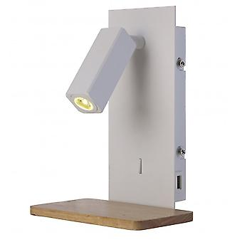 Mantra Nordica II Position Wall Light With USB Socket, 180lm, 1x3W 3000K LED White/Beech, 3yrs Warranty