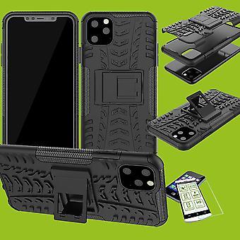 Für Apple iPhone 11 Pro MAX 6.5 Zoll Hybrid Case 2teilig Schwarz + Hartglas Tasche Hülle Cover Hülle