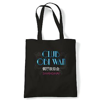 Club Obi Wan Movie Inspired Tote | Christmas Birthday Novelty Fathers Day Present | Reusable Shopping Cotton Canvas Long Handled Natural Shopper Eco-Friendly Fashion