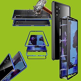 Für Samsung Galaxy Note 10 N970F Magnet / Metall / Glas Case Bumper Schwarz / Transparent Tasche Hülle Neu