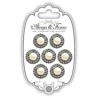 Craft Consortium Always & Forever Pearl Embellishments 7/Pkg-Circle AFCHRM02