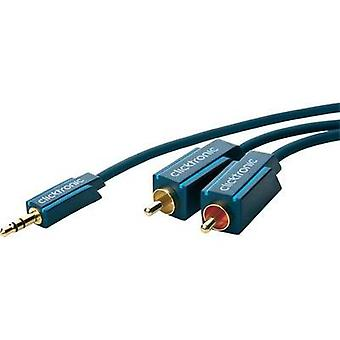 Jack / RCA Audio/phono Cable [1x Jack plug 3.5 mm - 2x RCA plug (phono)] 10 m Blue gold plated connectors clicktronic