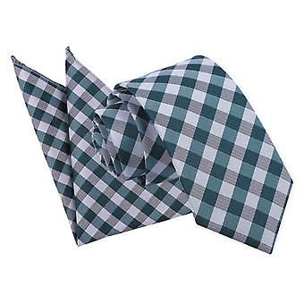 Turquoise Gingham Check Tie 2 pc. Set