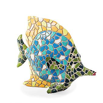 Brightly Coloured Mosaic Fish Garden or Home Ornament with Yellow Fin