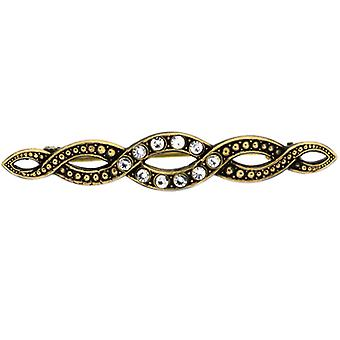 Cavendish French Georgian Crystal & Gold Serpentine Brooch / Stock Pin