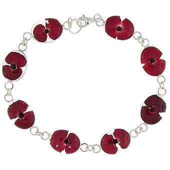 Shrieking Violet Sterling Silver Poppy Flower Chain Bracelet