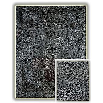 Rugs - Patchwork Leather Cubed Crocodile with Border - Grey/Black