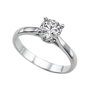 0.9 Carat H VS2 Diamond Engagement Ring 14K White Gold Solitaire Classic Round