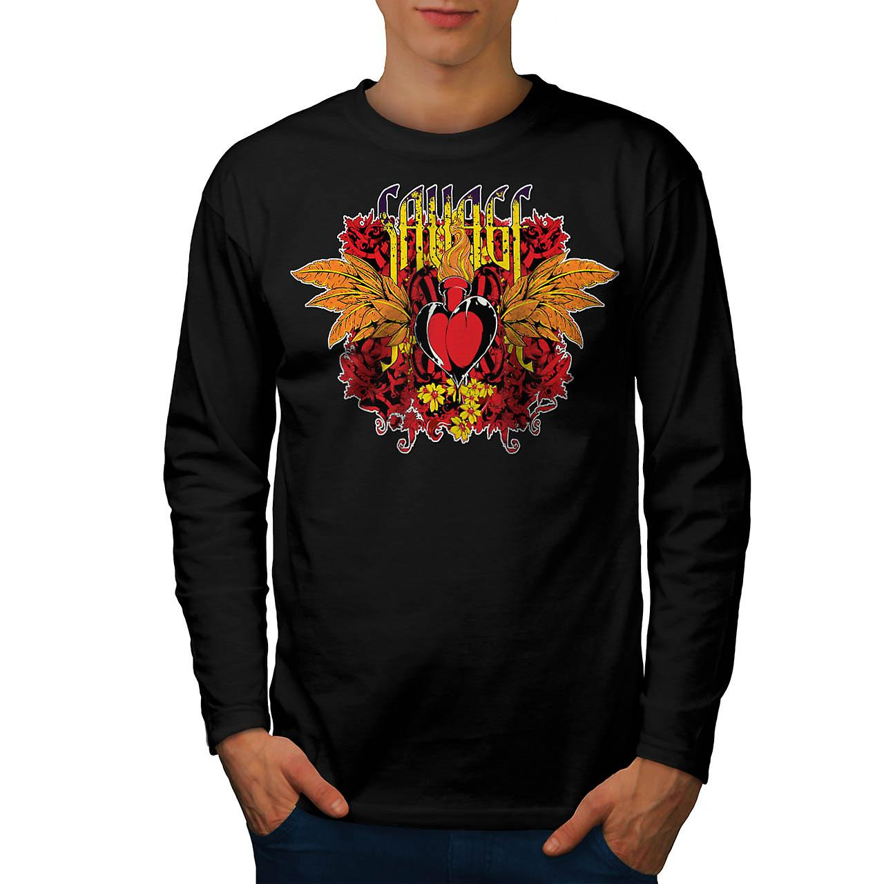 Savage Love Heart USA Lust Fire Men Black Long Sleeve T-shirt | Wellcoda