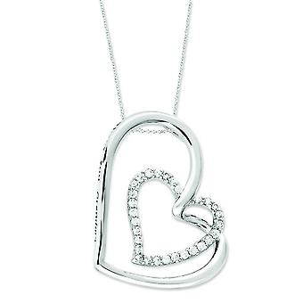 Sterling Silver Antiqued Cubic Zirconia Thank You Grandma 18inch Hearts Necklace