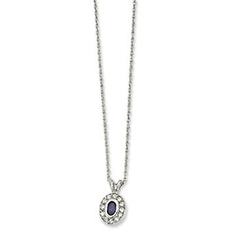 Rhodium-plated September Oval CZ Necklace - 18 Inch
