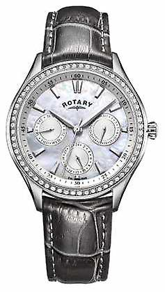 Rotary Womens Hampstead Grey Leather Strap Mother Of Pearl Dial LS05056/07 Watch