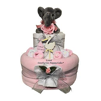 2 Tier Pink Baby Girl Elephant Nappy Cake Baby Gift