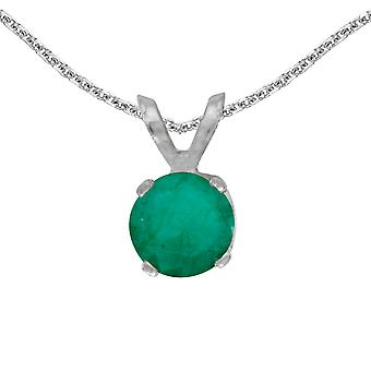10k White Gold Round Emerald Pendant with 16