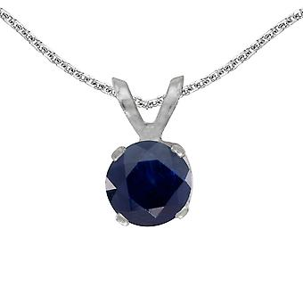 14k White Gold Round Sapphire Pendant with 18