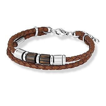 s.Oliver jewel mens leather bracelet stainless steel wood SO561/1 - 373708