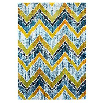 Blå & gule Chevron moderne London tæppe