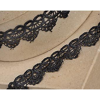 35mm Black Scalloped Lace Border Ribbon for Craft - 4.5m