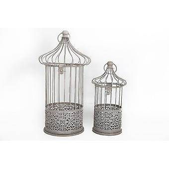 SET OF 2 LACE CUT OUT BIRD CAGES SHAPE CANDLE TEALIGHT HOLDER HOME DECORATION