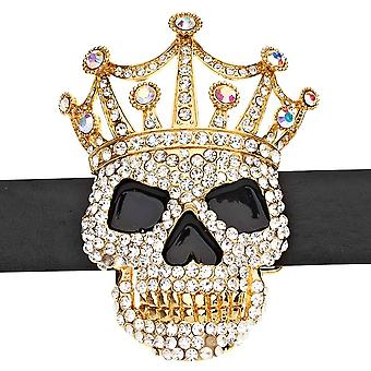 Iced out bling belt - XXL Crown skull gold