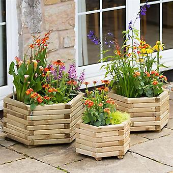 Zest 4 Leisure Set of 3 Marford Hexagonal Wooden Planters