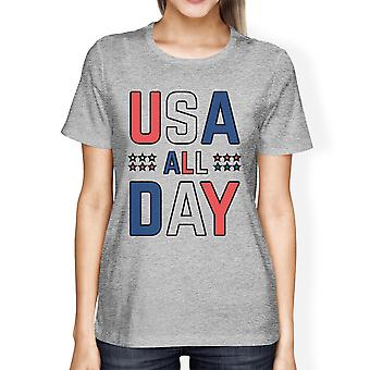 USA All Day Womens Grey Tee Funny Graphic T-Shirt For 4th Of July