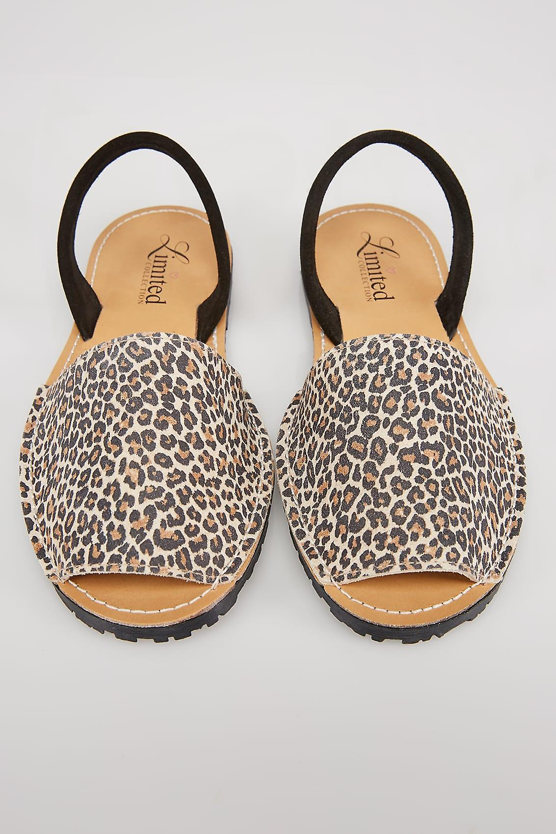 Beige Real Leather Leopard Print Peep Toe Sandals In E Fit