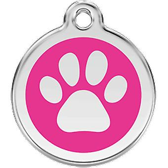 Red Dingo Identity plate M Dog Footprint Fuxia